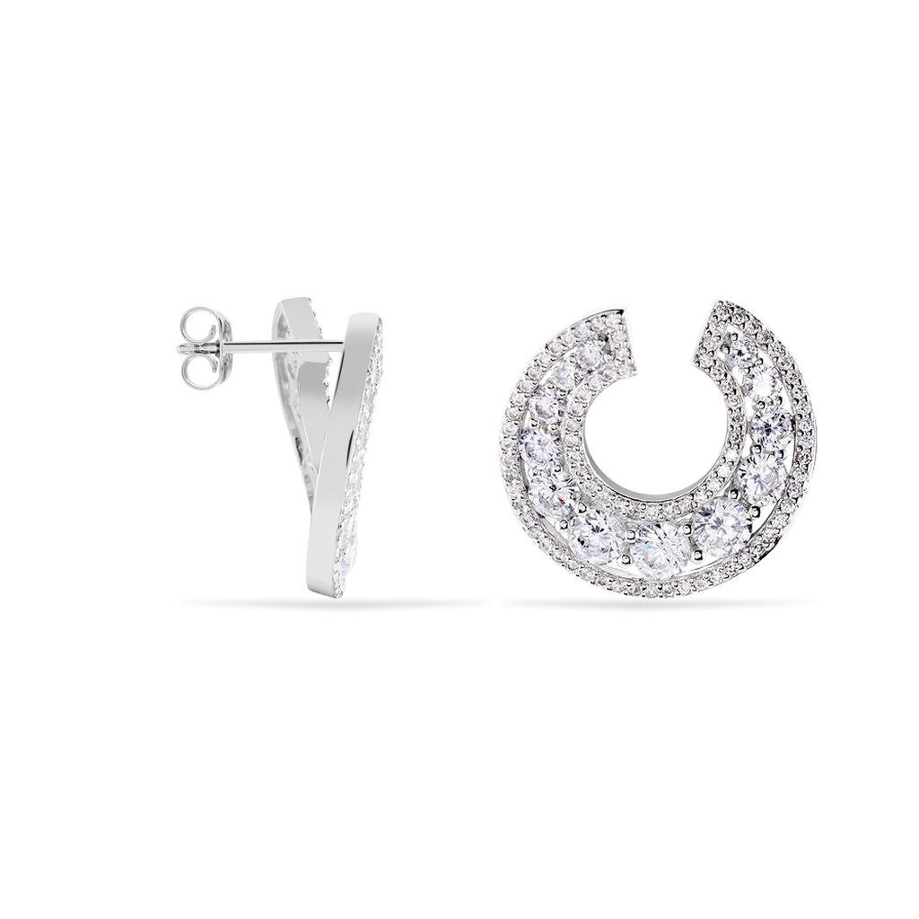 Damen Steckcreolen Silber 925 Zirkonia Rhodiniert - Creolen Damen | Oro Vivo