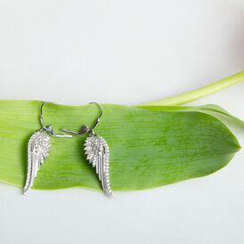 Damen Ohrhänger Lang Silber 925 Zirkonia Flügel  - Ohrhänger Damen | Oro Vivo