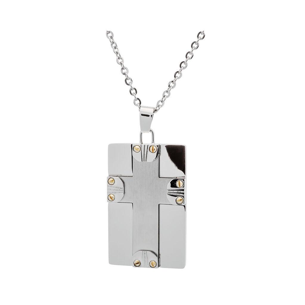 Herren Halskette Edelstahl Kreuz Dog Tag - Ketten mit Anhänger Herren | Oro Vivo