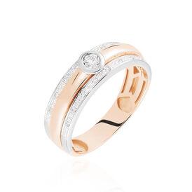 Damenring Gold 375 Bicolor Diamant 0,088ct - Ringe mit Edelsteinen Damen | Oro Vivo