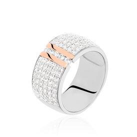 Damenring Silber 925 Bicolor Vergoldet Zirkonia  - Ringe mit Stein    Oro Vivo