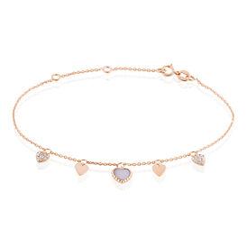 Damen Charmarmband Gold 375 Zirkonia Perlmutt Herz - Charmarmbänder Damen | Oro Vivo