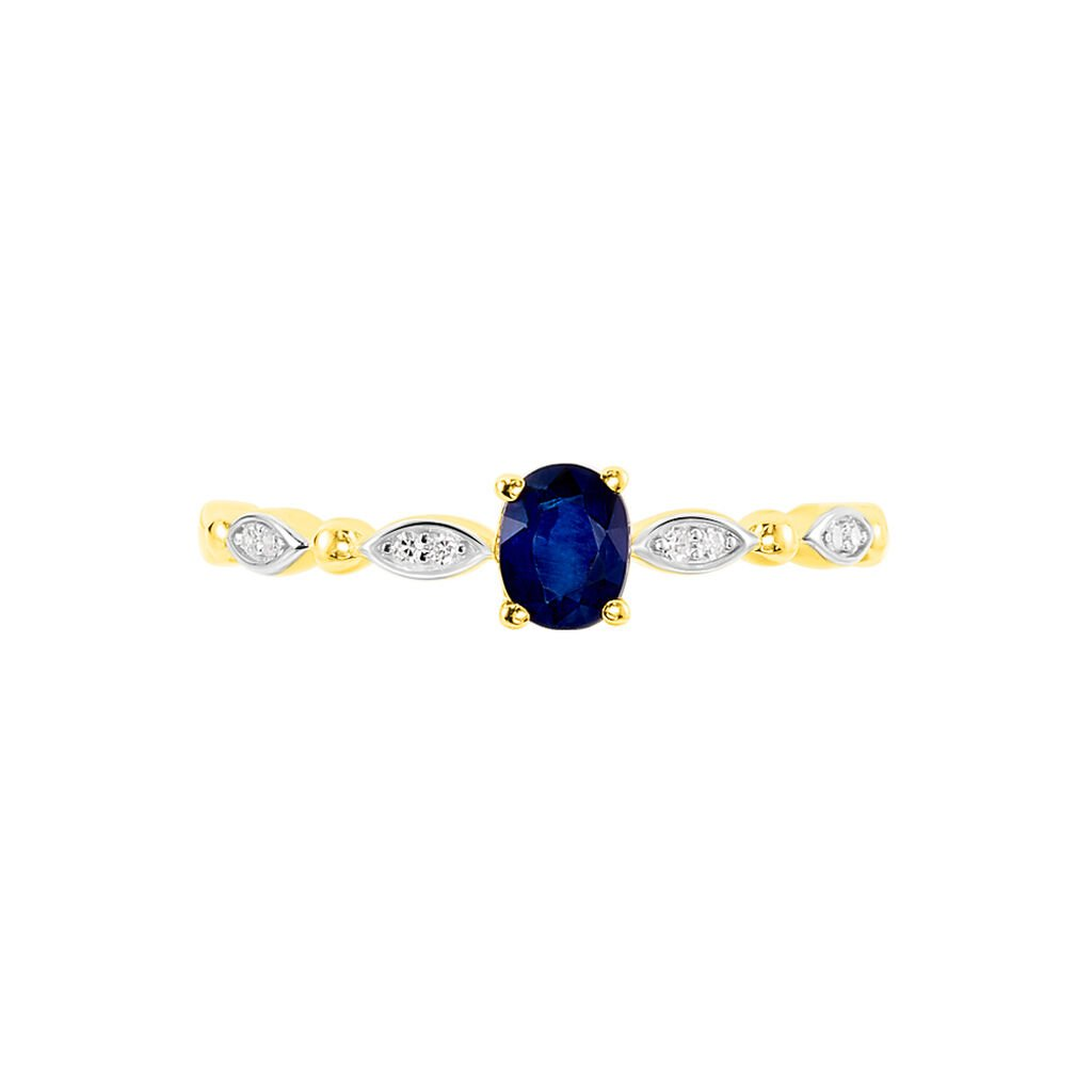 Damenring Gold 375 Bicolor Saphir Diamant