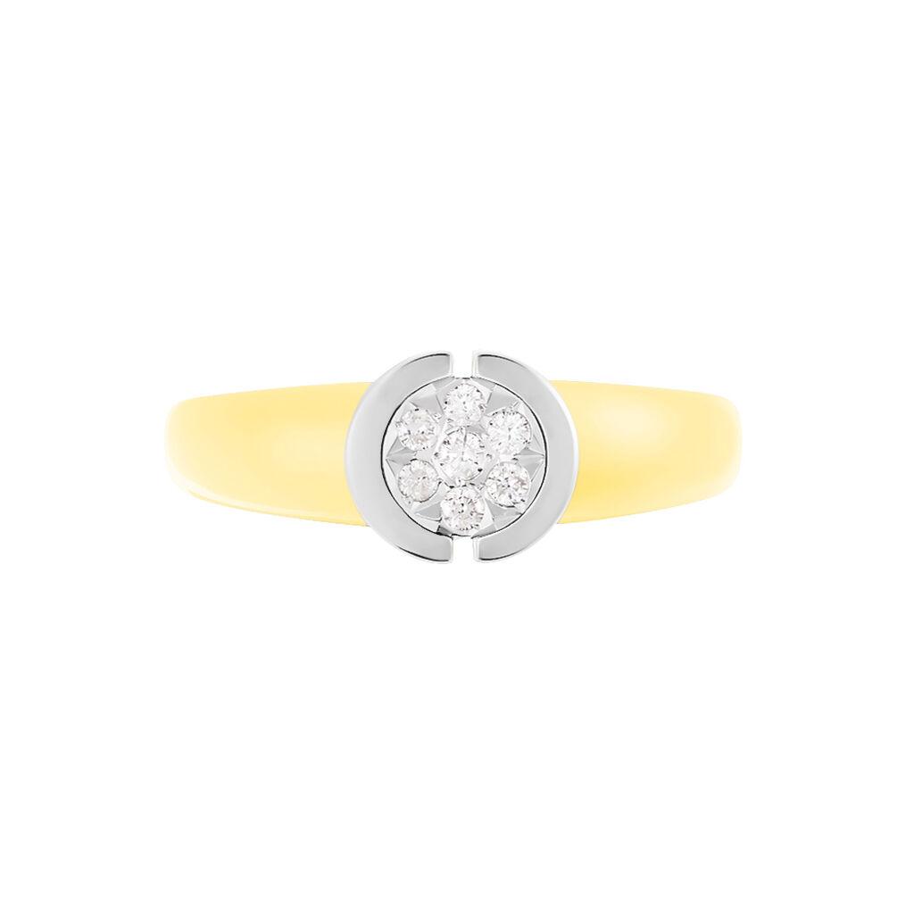 Damenring Gold 585 Bicolor Diamant 0,08ct - Ringe mit Edelsteinen Damen | Oro Vivo