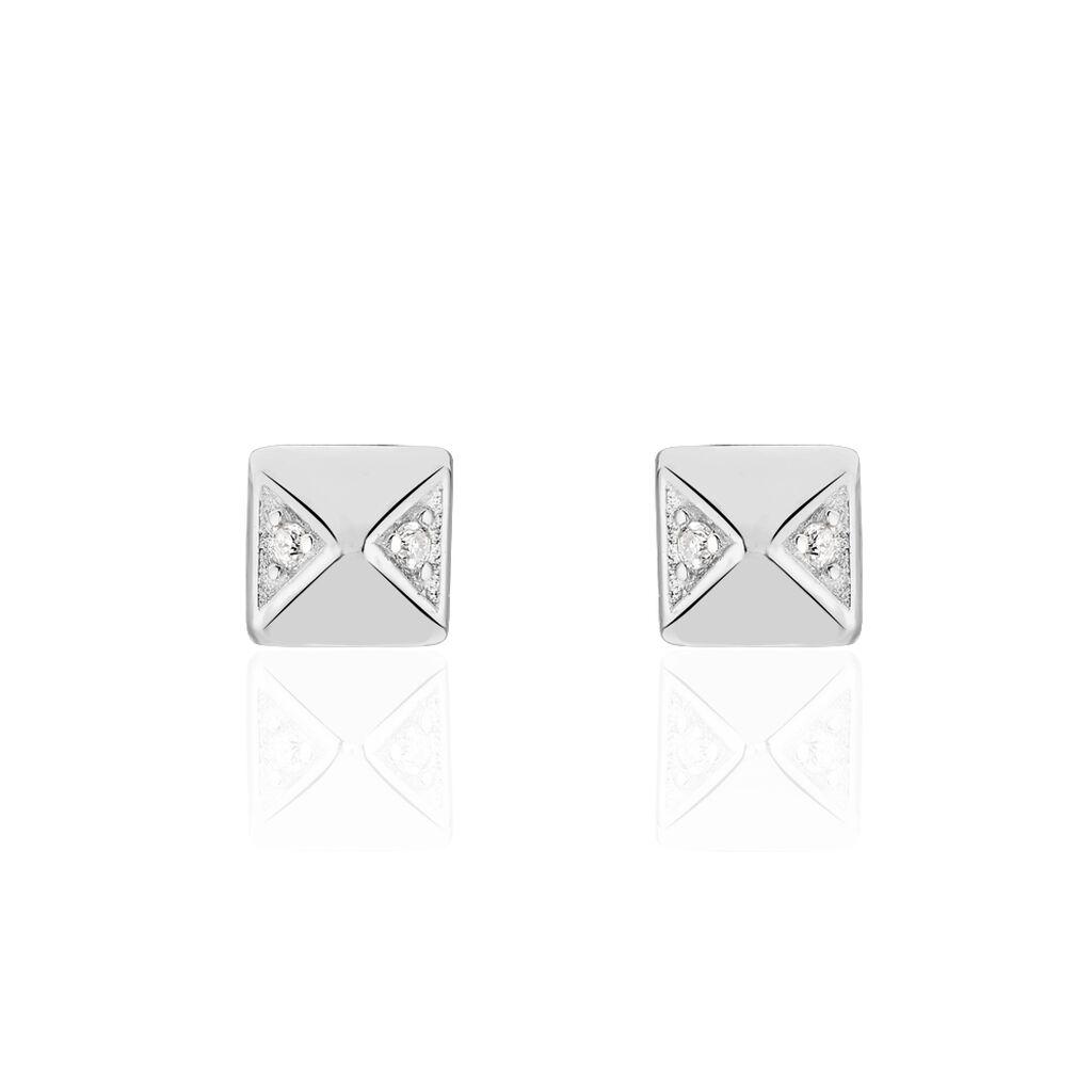 Damen Ohrstecker Silber 925 Diamant 0,02ct Viereck - Ohrstecker Damen | Oro Vivo
