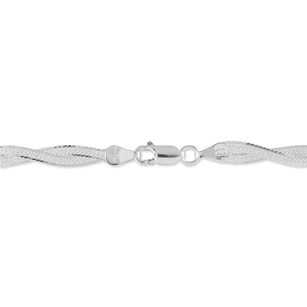 Damenarmband Zopfkette Silber 925 Tricolor  - Armketten Damen   Oro Vivo