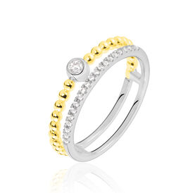 Damenring Gold 375 Bicolor Zirkonia - Eheringe Damen   Oro Vivo