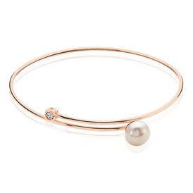 Damen Armreif Silber 925 Rosé Zuchtperle Zirkonia  - Armreifen Damen | Oro Vivo