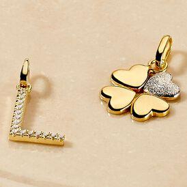 Anhänger Gold 375 Rhodiniert Herz Kleeblatt - Herzanhänger Damen | Oro Vivo