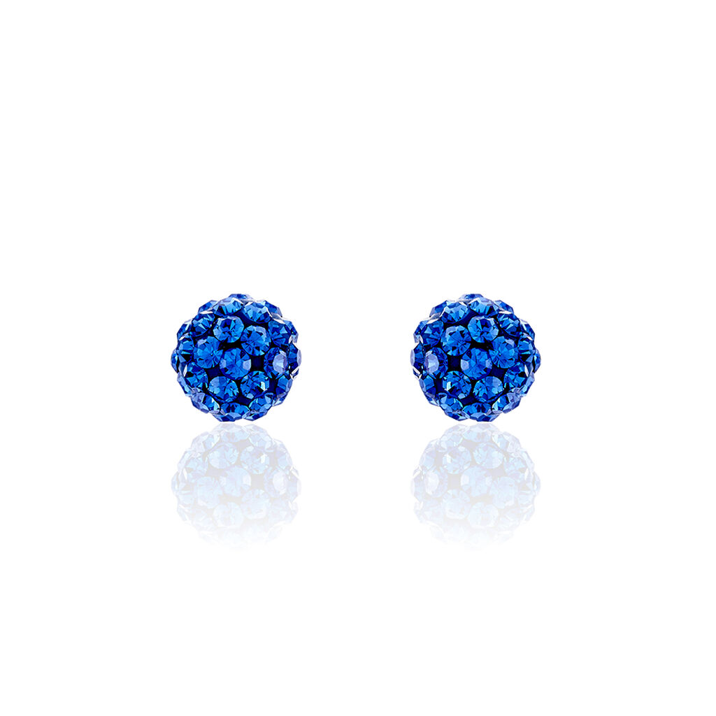 Damen Ohrstecker Silber 925 Blauer Kristall  - Ohrstecker Damen   Oro Vivo