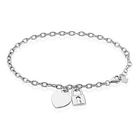 Damenarmband Silber 925 Herz Schloss Klee -  Damen | Oro Vivo