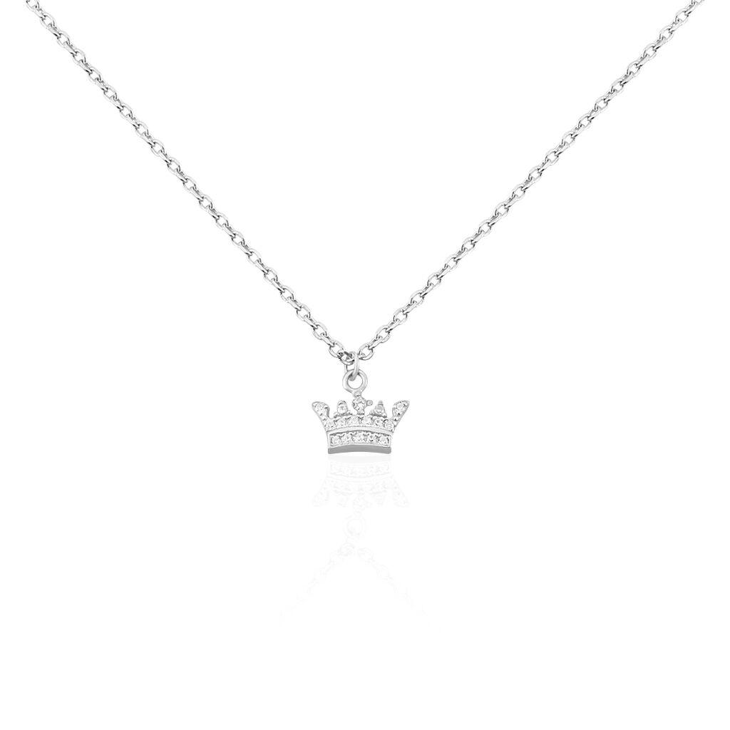 Kinder Halskette Silber 925 Zirkonia Krone - Ketten mit Anhänger Kinder | Oro Vivo