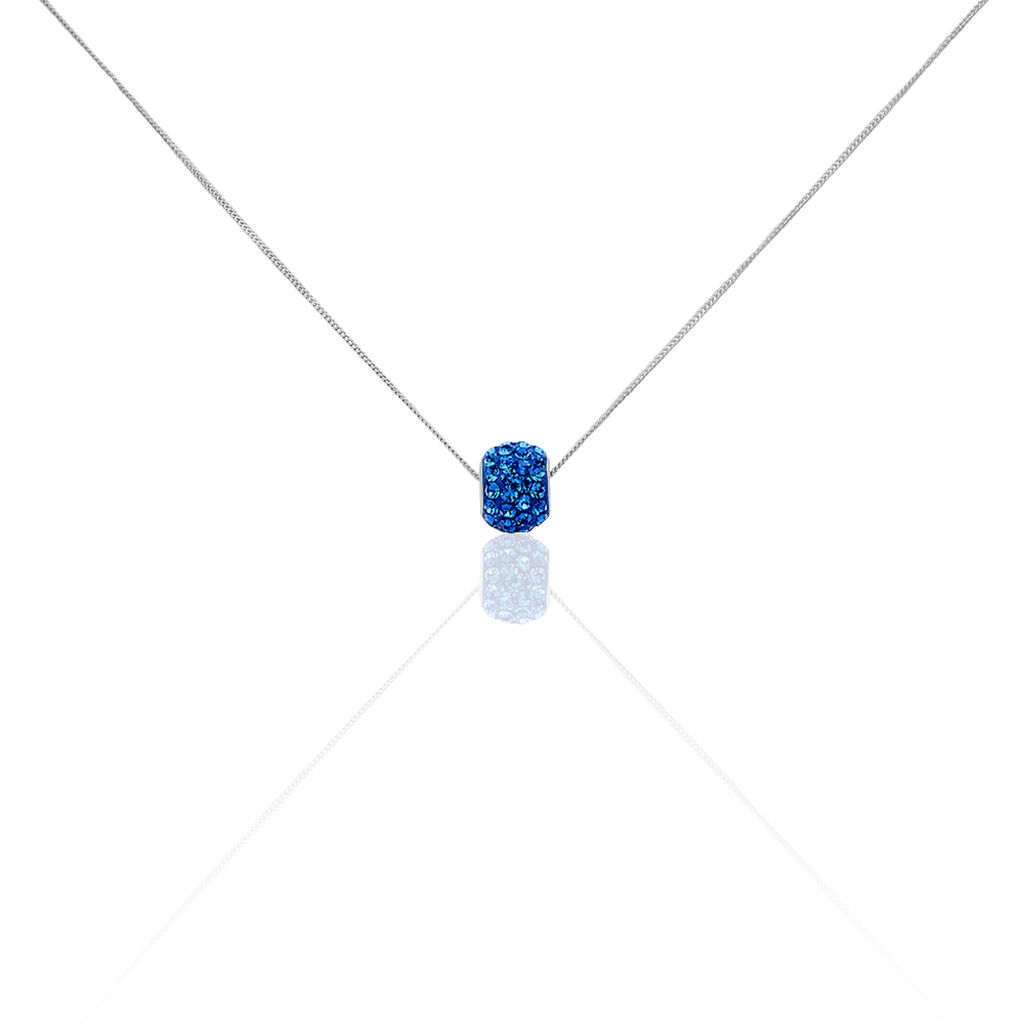 Damen Halskette Silber 925 Kristall Blau - Ketten mit Anhänger Damen | Oro Vivo