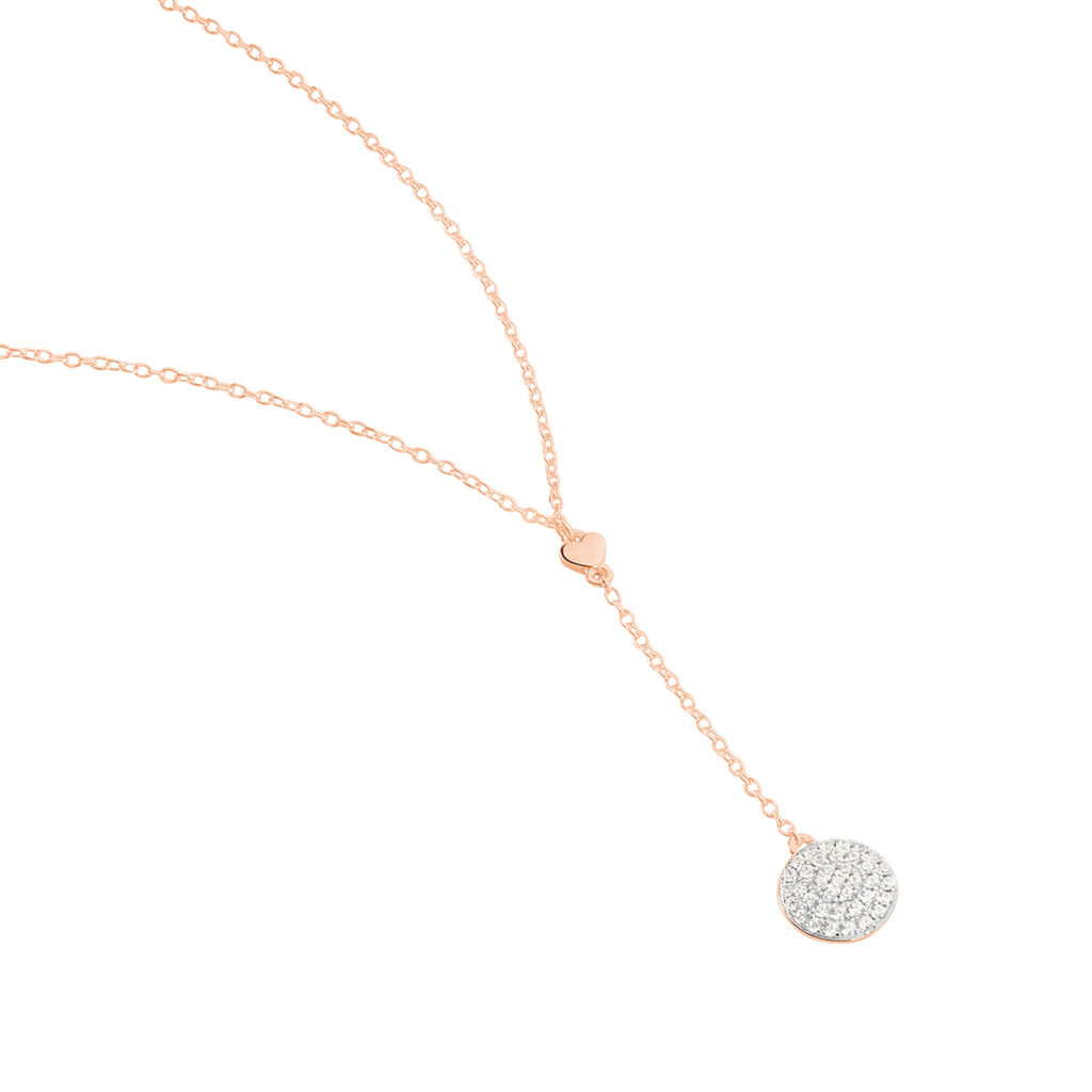 Damen Halskette Silber 925 Rosé Vergoldet - Herzketten Damen   Oro Vivo