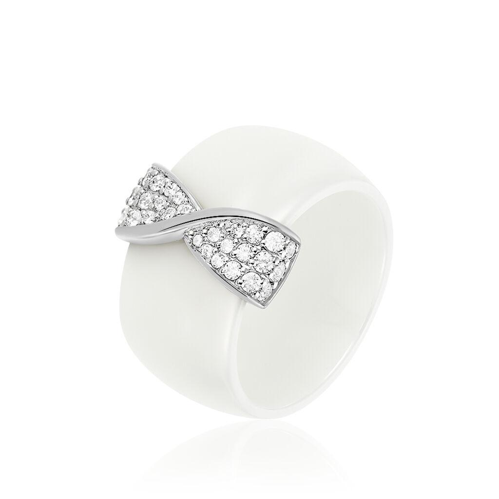 Damenring Silber 925 Zirkonia Weißer Keramik - Ringe mit Stein Damen | Oro Vivo