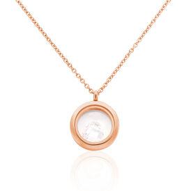 Damen Halskette Edelstahl Rosé Vergoldet Kristall - Herzketten Damen | Oro Vivo