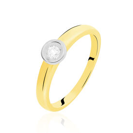 Solitärring Gold 375 Bicolor Diamant 0,10ct -  Damen | Oro Vivo
