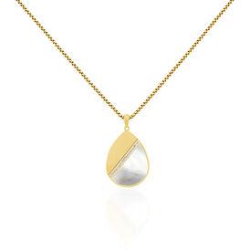 Damen Halskette Edelstahl Vergoldet Perlmutt - Ketten mit Anhänger Damen   Oro Vivo