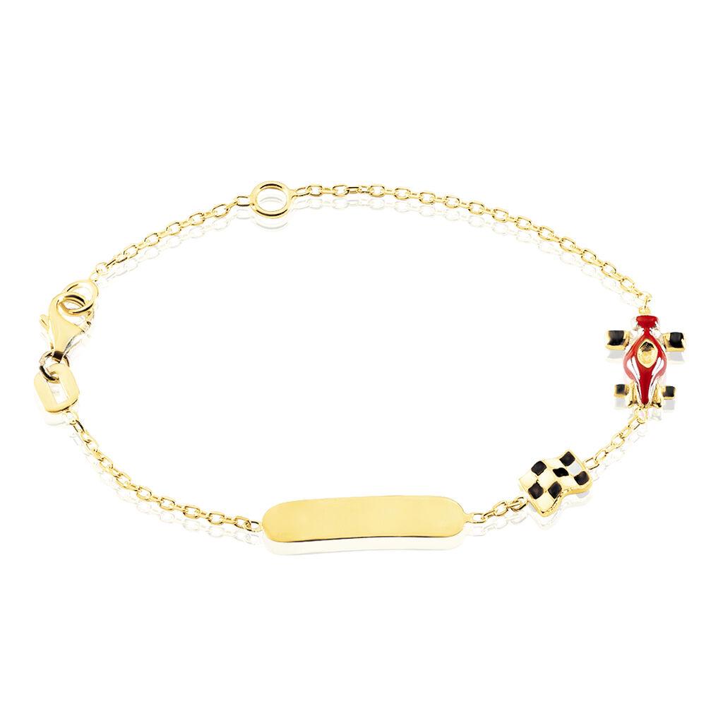 Kinder Id Armband Gold 375 Gravierbar Rennauto - ID-Armbänder Kinder   Oro Vivo