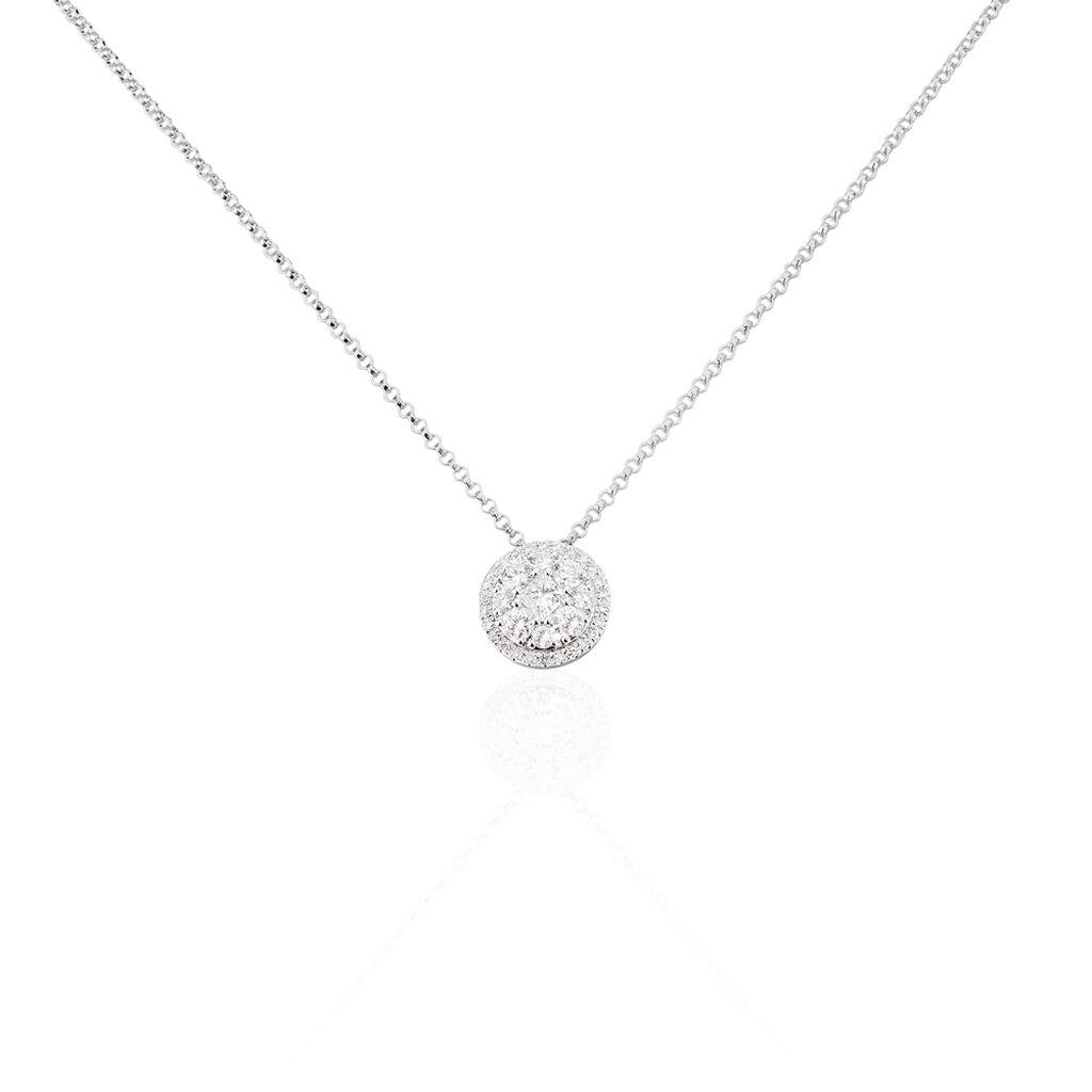 Damen Halskette Weißgold 750 Diamanten 0,49ct - Ketten mit Anhänger Damen | Oro Vivo