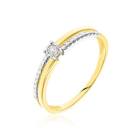 Damenring Gold 375 Bicolor Diamant 0,04ct - Personalisierte Geschenke Damen | Oro Vivo