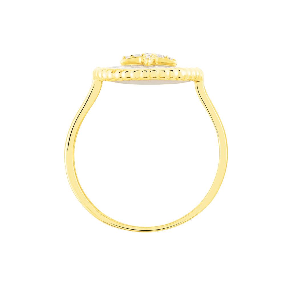 Damenring Gold 375 Zirkonia Perlmutt Stern - Ringe mit Stein Damen | Oro Vivo