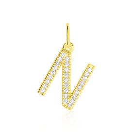 Anhänger Gold 375 Zirkonia Buchstabe N - Personalisierte Geschenke Damen | Oro Vivo