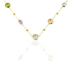 Damen Halskette Gold 375 Ametyst Peridot Topas - Ketten mit Anhänger  | Oro Vivo