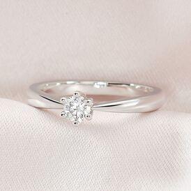 Solitärring Weißgold 375 Diamant 0,2ct - Ringe mit Edelsteinen Damen | Oro Vivo