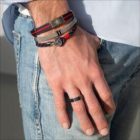 Herrenarmband Textil Leder Edelstahl Kompass - Lederarmbänder Herren   Oro Vivo