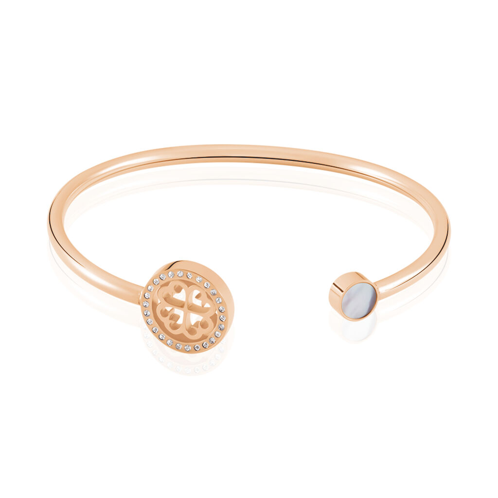Damenarmband Edelstahl Rosé Vergoldet Kristal - Armreifen Damen   Oro Vivo