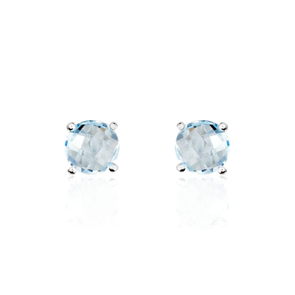 Damen Ohrstecker Weißgold 375 Blauer Topas 6mm - Ohrstecker Damen | Oro Vivo