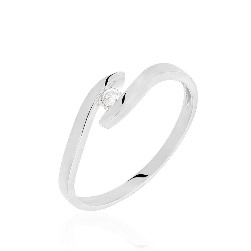 Spannring Weißgold 375 Diamant 0,05ct - Ringe mit Edelsteinen Damen | Oro Vivo