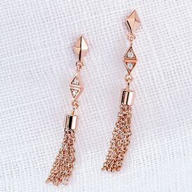 Damen Ohrstecker Lang Silber 925 Rosé Vergoldet -   | Oro Vivo