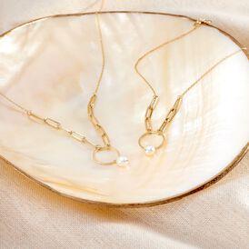 Damen Halskette Gold 375 Zuchtperle - Ketten mit Anhänger  | Oro Vivo