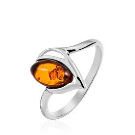 Damenring Silber 925 Rhodiniert Bernstein -  Damen | Oro Vivo