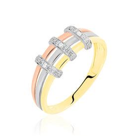 Damenring Gold 585 Tricolor Diamanten 0,018ct -  Damen | Oro Vivo