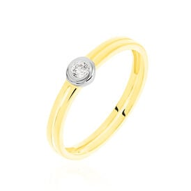 Solitärring Gold 585 Bicolor Diamant 0,07ct -  Damen | Oro Vivo
