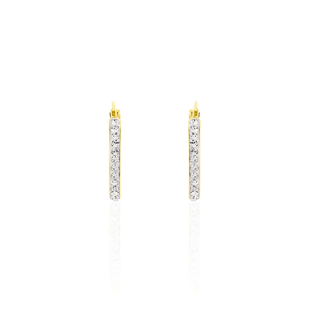 Damen Creolen Gold 375 Kristalle 19mm - Creolen Damen | Oro Vivo