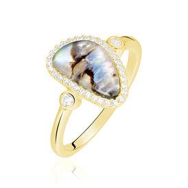 Damenring Silber 925 Vergoldet Zirkonia Perlmutt - Ringe mit Stein  | Oro Vivo