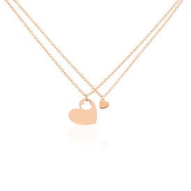 Damen Halskette Silber 925 Rosé Vergoldet Herz - Herzketten Damen   Oro Vivo