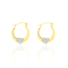 Damen Creolen Gold 375 Kristall Herz - Creolen Damen | Oro Vivo