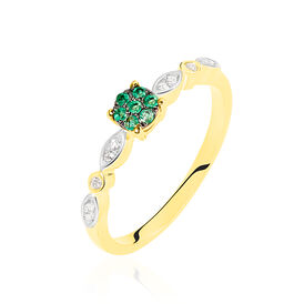 Damenring Gold 375 Smaragd Diamanten 0,006ct - Ringe mit Edelsteinen Damen | Oro Vivo