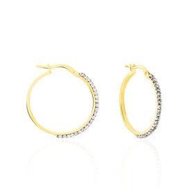 Damen Creolen Gold 375 Strass 20mm -  Damen | Oro Vivo