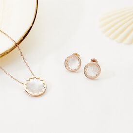 Damen Halskette Silber 925 Rosé Vergoldet Perlmutt - Ketten mit Anhänger Damen   Oro Vivo
