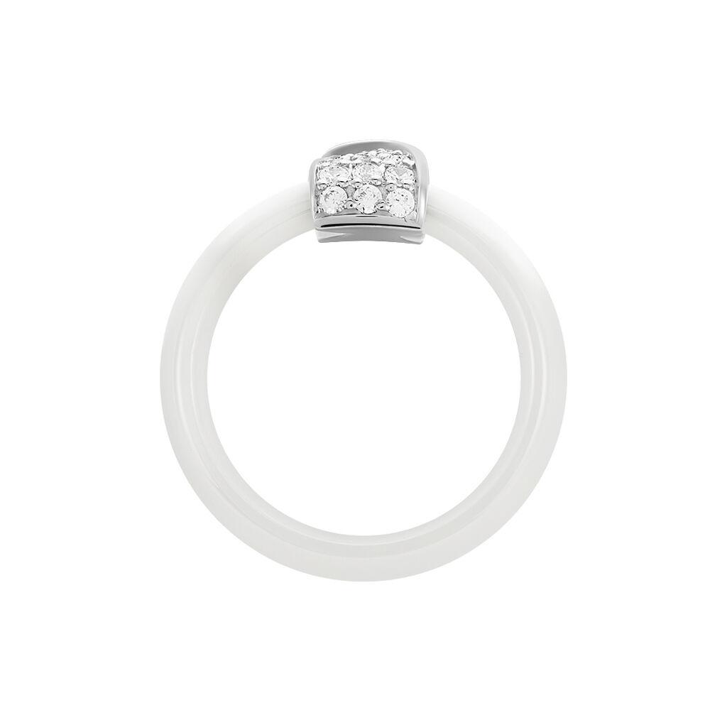 Damenring Silber 925 Zirkonia Weißer Keramik - Ringe mit Stein Damen   Oro Vivo