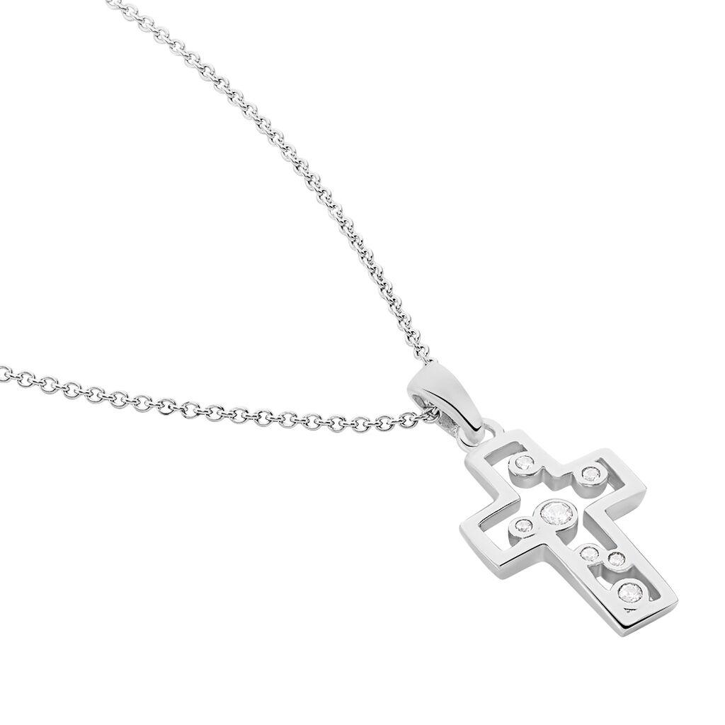 Damen Halskette Silber 925 Zirkonia Kreuz - Ketten mit Anhänger Damen | Oro Vivo