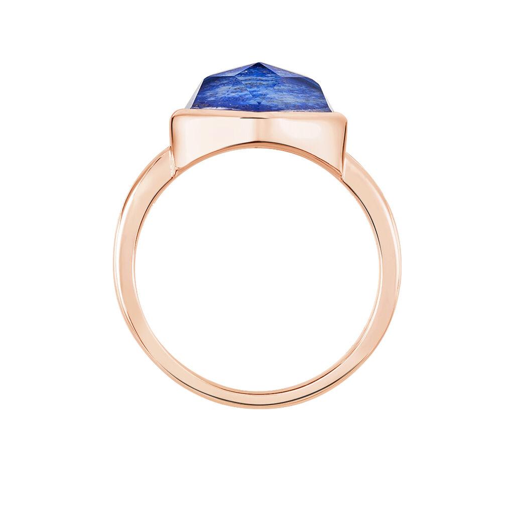 Damenring Silber 925 Rosé Vergoldet Lapislazuli - Ringe mit Stein Damen   Oro Vivo