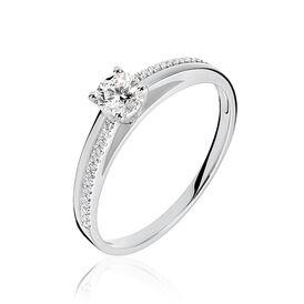 Damenring Weißgold 375 Diamant 0,22ct - Ringe mit Edelsteinen Damen | Oro Vivo