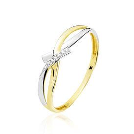 Damenring Gold 375 Bicolor Diamant 0,005ct - Ringe mit Edelsteinen Damen | Oro Vivo
